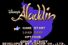 Disney's Aladdin Game Boy Advance Alternative title screen, but with the same main menu.