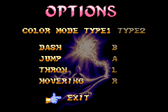 Disney's Aladdin Game Boy Advance The single options screen.