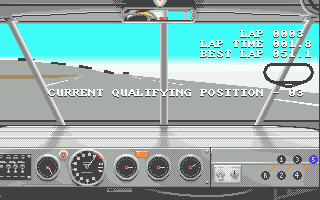 Days of Thunder Atari ST You can do as many laps as you like - press Q to take your current fastest