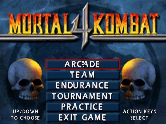 Mortal Kombat 4 Windows The initial option screen