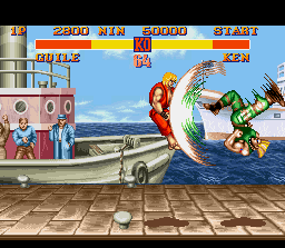 Street Fighter II SNES The impact moment is close: in instants, Ken will feel Guile's Flash Kick power size!