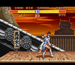 Street Fighter II SNES Persuaded for Chun-Li and her throw.
