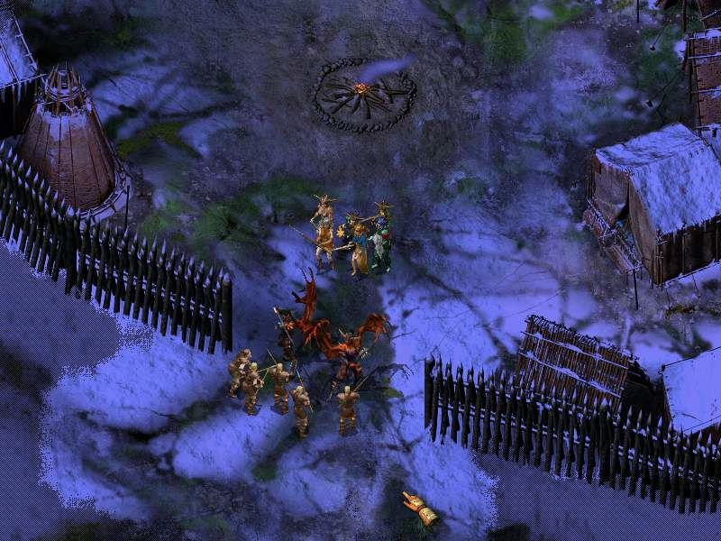 Icewind Dale II Windows One of cut-scenes: demons attacking village