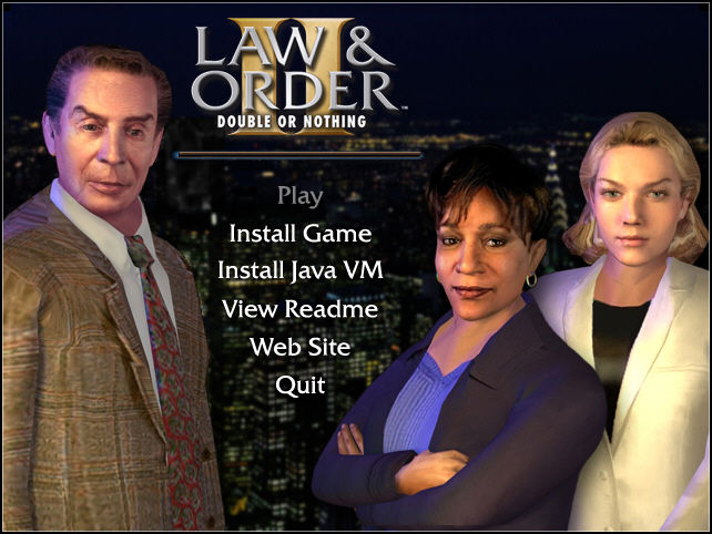 Law & Order II: Double or Nothing Windows Installation Screen