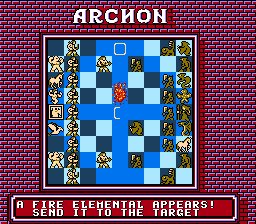 Archon: The Light and the Dark NES The wizard summons a fire elemental, use it to attack one of the monsters of the dark side