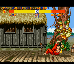Street Fighter II SNES Ken throws the wild Blanka