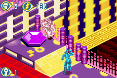 TRON 2.0: Killer App Game Boy Advance This is a disinfection station, knock viral enemies into it to turn them back into law abiding programs