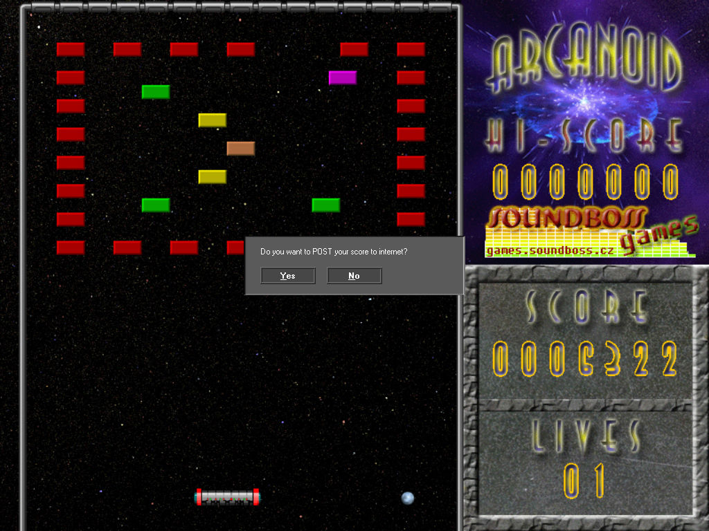 Arcanoid Windows Game Over