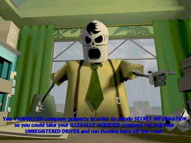 Grim Fandango Windows One of the game's many cutscenes. The hero seems to have troubles with his unpleasant boss...