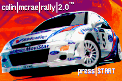 Colin McRae Rally 2.0 Game Boy Advance Title screen.