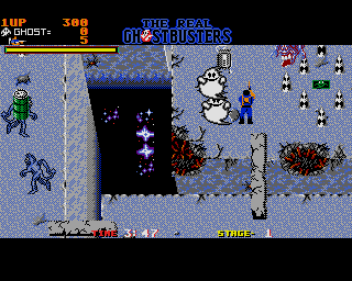 The Real Ghostbusters Amiga When you destroy ghosts, their spirit floats away