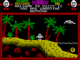 Treasure Island Dizzy ZX Spectrum You begin the game on the beach