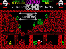 Treasure Island Dizzy ZX Spectrum The sign gives you a clue on how to get past