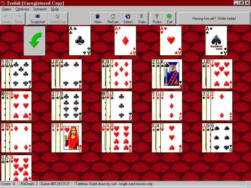 Pretty Good Solitaire 600 Windows Trefoil - a Fan variant that's one of my favourites