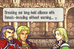 Fire Emblem: The Sacred Stones Game Boy Advance Lots story sequences keep you informed about the different characters and story branches.