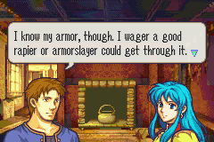 Fire Emblem: The Sacred Stones Game Boy Advance During battles, you can visit houses and maybe get some useful hints