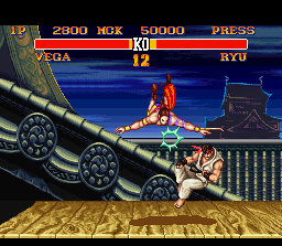 "Street Fighter II Turbo SNES Vega, the ninjitsu ""master"", attacking Ryu with your aerial move."