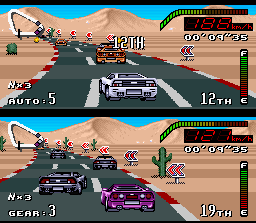 Top Gear SNES Driving in the dry and extensive desert of Las Vegas.