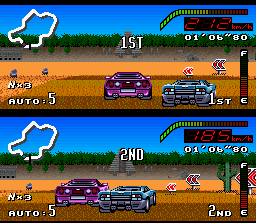 Top Gear SNES In a great surpassing, the Purple Car takes Blue Car's leadership.