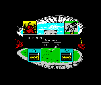 Kenny Dalglish Soccer Manager ZX Spectrum Kepe clicking 'no' until it gets to the team you want (wouldn't a 'select team' menu have worked better?)