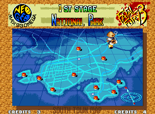 Fatal Fury 3: Road to the Final Victory Neo Geo South Town Map: red points shows next challengers location.