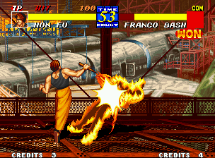 Fatal Fury 3: Road to the Final Victory Neo Geo Equipped with his nunchaku, Hon-Fu is a terrible (and burning) threat!