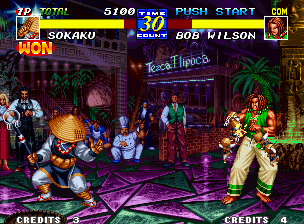 Fatal Fury 3: Road to the Final Victory Neo Geo Using miniatures of himself, Sokaku attacks Bob Wilson (notice that KOF's Kyo and Kensou are in the background).