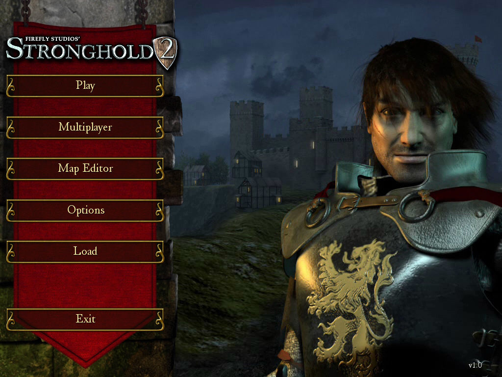 FireFly Studios' Stronghold 2 Windows The main menu shows a detailed 3D model of the Castle Lord