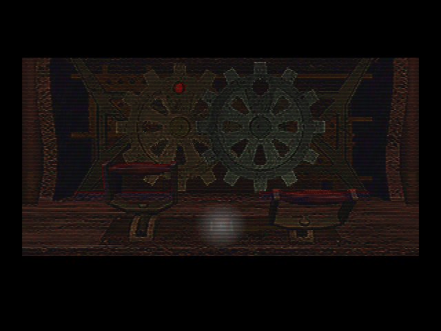 D DOS The gears puzzle. Laura must align the red dot on the left gear with the hole in the right gear, using the levers to control how much each gear turns.