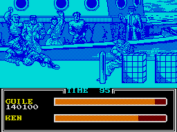 Street Fighter II ZX Spectrum Ken knocks Guile over with a fireball