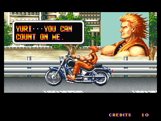 Art of Fighting Neo Geo Ryo and his motorcycle