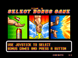 Art of Fighting Neo Geo Bonus Game Select Screen