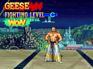 Fatal Fury 3: Road to the Final Victory Neo Geo Geese Howard laughs, while his opponent clings to the building for his life.