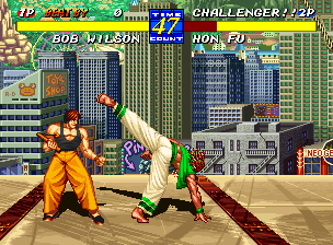 Fatal Fury 3: Road to the Final Victory Neo Geo Bob Wilson attempts to hit Hon Fu with a crouching kick, but, by keeping a distance from his opponent, Hon Fu avoids it with much success!