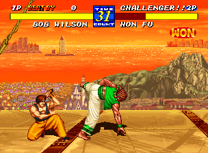 Fatal Fury 3: Road to the Final Victory Neo Geo Bob Wilson once again tries to hit Hon Fu with the same attack, but Hon Fu crouches down and guards himself to once again save his skins!