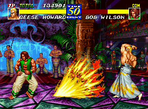 Fatal Fury 3: Road to the Final Victory Neo Geo Things don't look to be going so well for Bob Wilson today, folks. Can he avoid being hit by Geese Howard's Joli Reppuken?