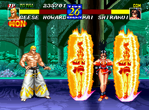 "Fatal Fury 3: Road to the Final Victory Neo Geo Geese Howard decides to ""play it safe"" by keeping a distance from Mai Shiranui and her fiery allies."