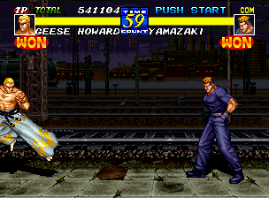 "Fatal Fury 3: Road to the Final Victory Neo Geo Geese Howard gets a chance to show off his Bruce Lee-style flying kick move, while Yamazaki watches with his hands in his pockets (Is he going to pull out his ""trusty knife""?)."