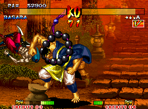 Samurai Shodown III: Blades of Blood Neo Geo In a vulnerable moment, Basara is grabbed by Gaira: the final result is smashing... :-(