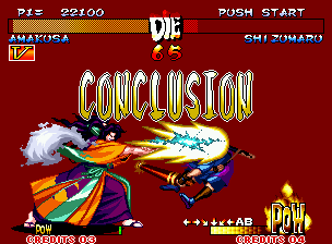Samurai Shodown III: Blades of Blood Neo Geo With a mortal blow, Amakusa wins the match.