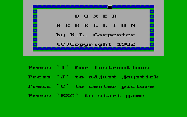 Boxer Rebellion DOS Title screen.