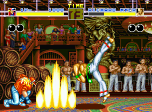 Fatal Fury Neo Geo CD Richard Myer attempts to jump out of the way of getting hit by Terry Bogard's Power Wave.