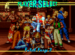 Fatal Fury 3: Road to the Final Victory Neo Geo CD Character Select. Many favorites from the previous Fatal Fury games return, including some new ones!