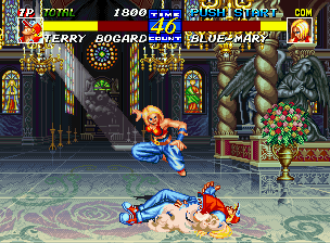 Fatal Fury 3: Road to the Final Victory Neo Geo CD Blue Mary knocks Terry Bogard into the dust!