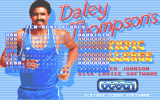 Daley Thompson's Olympic Challenge Atari ST Main menu, which has the high scores superimposed over it
