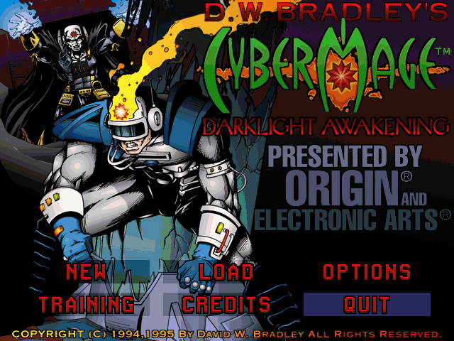 CyberMage: Darklight Awakening DOS Main menu
