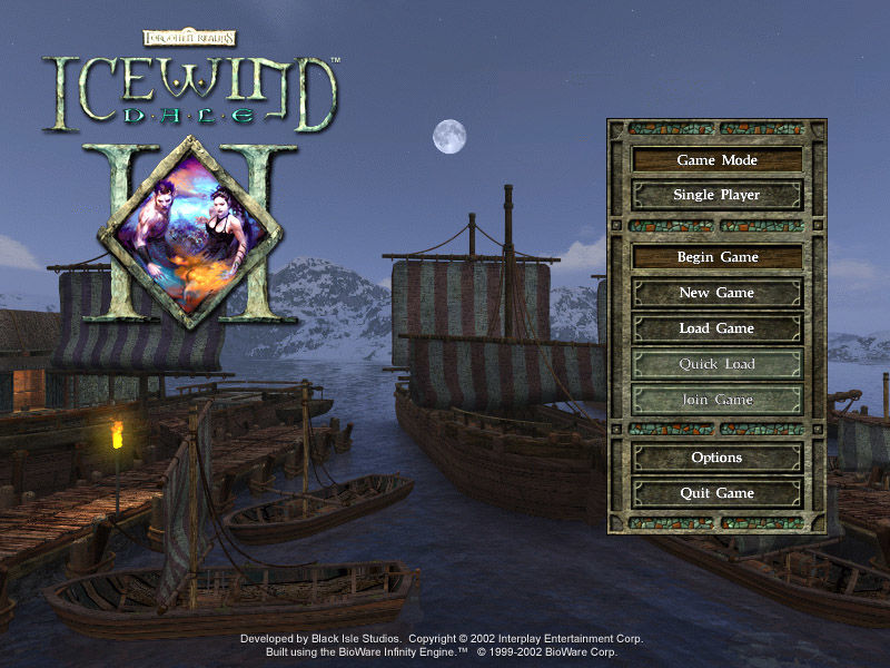 Icewind Dale II Windows Main menu