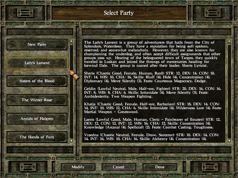 Icewind Dale II Windows You can choose to create a new party or use one of the pre-made ones