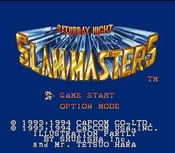 Saturday Night Slam Masters SNES Title screen