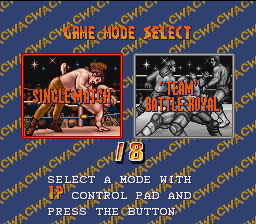Saturday Night Slam Masters SNES Selecting game mode